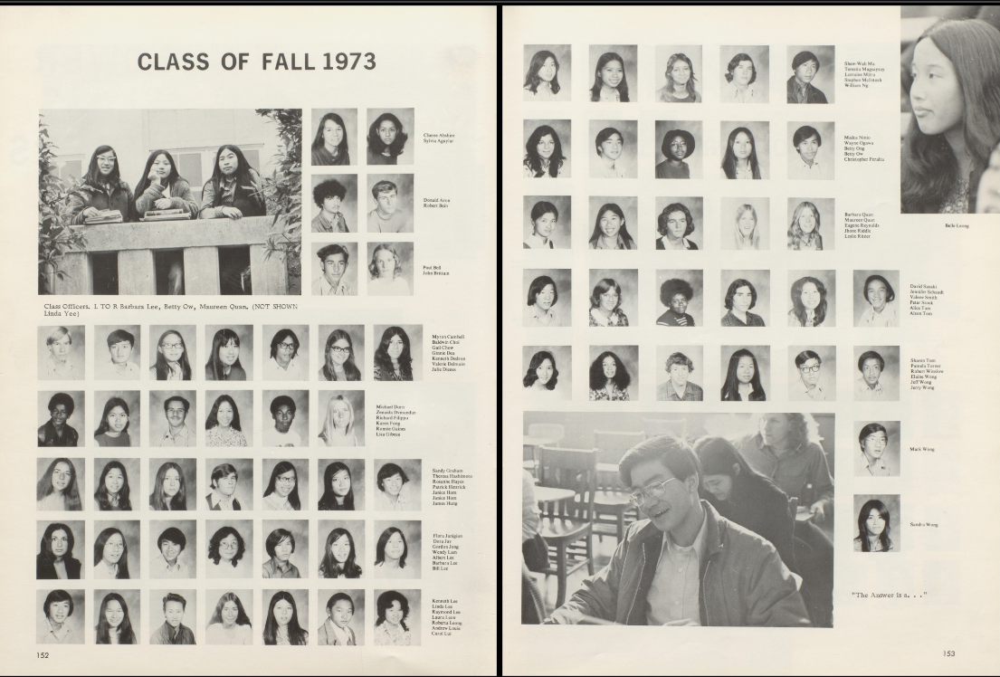 Yes, there was indeed an entry for Betty Ong in the appropriate page of the  Fall 1973 graduating class! She's right there on the right-hand page, ...